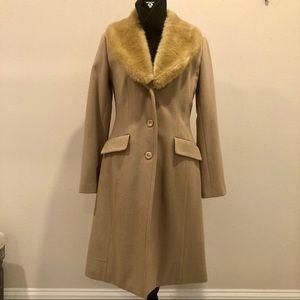 Merona Long Wool Camel Coat Fur Collar